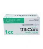 "UltiCare U-100 Insulin Syringe, 30 Gauge, 1cc, 5/16"" Short Needle - 100 Count Box"