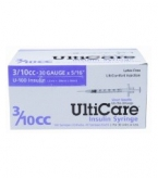 "UltiCare U-100 Insulin Syringe, 30 Gauge, 3/10cc, 5/16"" Short Needle - 100 Count Box"