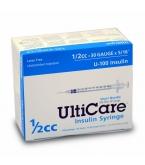 "UltiCare U-100 Insulin Syringe, 30 Gauge, 1/2cc, 5/16"" - 100/Box"
