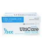 "UltiCare U-100 Insulin Syringe, 31 Gauge, 1/2cc, 5/16"" Short Needle - 100 Count Box"