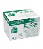 "UltiCare Tuberculin Saftey Syringes, 1 cc, 25 Gauge, 1"" - 100 Count Box"
