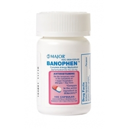 Banophen Diphenhydramine HCL Capsules 25mg 100ct (Major)