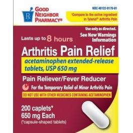 Good Neighbor Pharmacy Arthritis Pain Relief Acetaminophen Extended Release 650mg Caplets-200ct