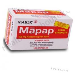 Mapap (Acetaminophen) 500 mg Capsules  - 100 Count Bottle