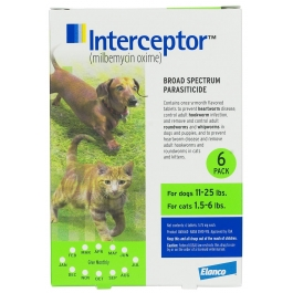 Interceptor Flavor Tabs 5.7mg (For Dogs 11-25lbs & Cats 1.5-6lbs) - 6 Month Pack - Vet Rx