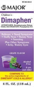 Major Children's Dimaphen Elixir, Grape, 4oz