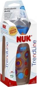 NUK Trendline Bottle with Silicone Medium Flow Nipple, 10 oz., 0+ months