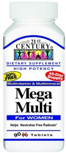21st Century Mega Multi for Women, Multivitamin & Multimineral 90 tablets