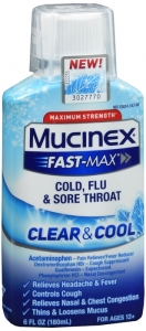 Mucinex Fast-Max Cold, Flu & Sore Throat Clear & Cool, 6 Fl Oz