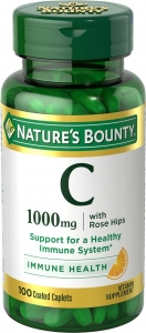 Nature's Bounty Vitamin C-1000mg Plus Rose Hips Coated Caplets 100ct