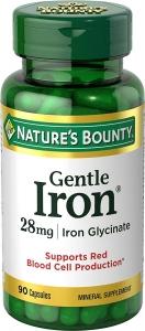 Natures Bounty Gentle Iron Capsules 28mg, 90ct