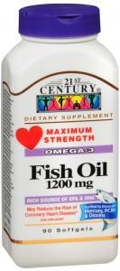 21st Century Fish Oil 1200mg, Maximum Strength 90 Softgels