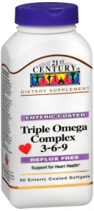 21st Century Enteric Coated Triple Omega Complex 3-6-9, Reflux Free, 90 Softgels