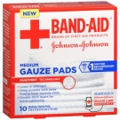 Band-Aid First Aid Medium Gauze Pads, 3x3 Inch, 10ct