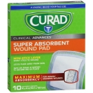 Curad Super Absorbent Wound Pad, 4inx4in, 10ct