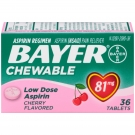 Bayer Low Dose Aspirin Pain Reliever, 81mg, Chewable Tablets, Cherry, 36ct