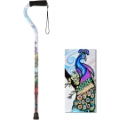 NOVA Sugarcane Designer Cane with Offset Handle, Proud Peacock