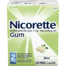 Nicorette Gum 2mg Mint - 170ct Box