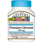 21st Century Potassium Gluconate 595mg Tablets 110ct