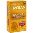 Trojan Ultra Ribbed Spermicidal  Condom- 12ct