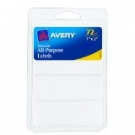 Avery Removable Labels, Rectangular, 1 x 3 Inch, White- 72ct
