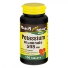 Mason Natural Potassium Gluconate, 595mg, Tablets, 100ct