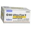 BD Ultrafine II U-100 Insulin Syringe 31 Gauge 1/2cc 5/16 inch Short Needle 100/Box