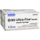 BD Ultrafine Insulin Syringe 30 Gauge, 1/2cc,  1/2