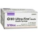 BD Ultrafine Insulin Syringe 30 Gauge, 3/10cc, 1/2
