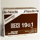 BD Needle Only 19 Gauge 1 inch Thin Wall 100/Box