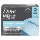 Dove Men+Care Body and Face Bar Soap,Clean Comfort, 4oz- 2ct