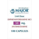 Banophen Diphenhydramine HCL 50mg Capsules Unit Dose Packaging (Major) - 100ct