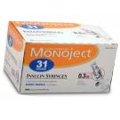 Monoject Ultrafine U-100 Insulin Syr 30 Gauge 3/10cc 5/16 inch Needle 100/Box
