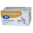 Monoject Ultrafine U-100 Insulin Syr 31 Gauge 3/10cc 5/16 inch Needle ( 1/2 Unit Markings) 100/Box