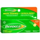 Berocca Mental Sharpness + Physical Energy Effervescent Tablets, Orange- 10ct