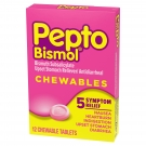 Pepto Bismol Chewable Tablets 5 Symptom Stomach Relief, Original-12ct