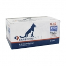 Carepoint Veterinary U-40 Insulin Syringe 29 Gauge, 3/10cc, 1/2