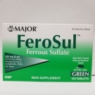 Major Ferosul Ferrous Sulfate 325mg 100 Tablet Box