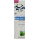 Tom's of Maine Simply White Natural Fluoride Toothpaste, Clean Mint- 4.7oz