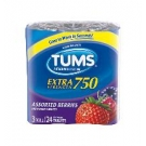 TUMS Extra Strength 750mg Tablets, Assorted Berries- 3 rolls of 24 tablets