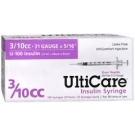 UltiGuard U-100 Insulin Syringes 31 Gauge, 3/10cc, 5/16