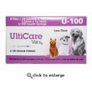 Ulticare Vet Rx U-100 Insulin Syringes 29 Gauge, 3/10cc, 1/2