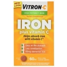Vitron-C High Potency Iron Plus Vitamin C Coated Tablets Dietary Supplement 60 ct