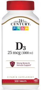 21st Century D-1000, Extra Strength D3, Tablets, 500 ct