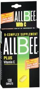 AllBee B Complex Supplement Plus Vitamin C, Caplets - 130 caplets