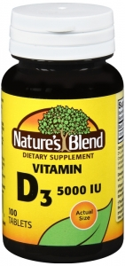Nature's Blend Vitamin D3 5000IU Tablets, 100ct