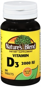 Nature's Blend Vitamin D3 2000 IU Super Strength Tablets, 100 Ct