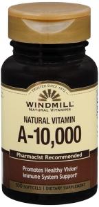 Windmill Vitamin A, 10000 IU, Softgels, 100 ct