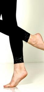 Foot Traffic Microfiber Leggings with Lace Trim, Black