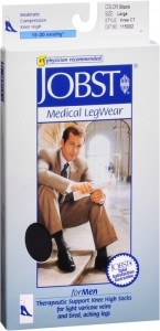 JOBST Men's Socks, 15-20mmHG Compression, Black, Large - 1 Pair
